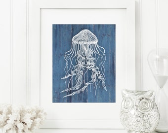 Jellyfish Art Print, Rustic Art, Nautical Art, Blue Rustic Wood 'Look' 5x7, 8X10, 11x14 Jelly Fish, Beach Decor, Nautical Wall Art
