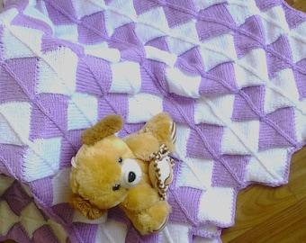 Hand knit baby blanket, blanket newborn, Bamboo blanket afghan, blanket boy girl, Crochet Baby Blanket, merino wool blanket