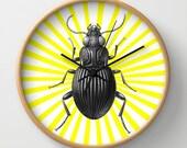 Clock, wall clock, animal clock, unusual clock, original clock, animal, insect, kitchen decor, kids decor, kitsch decor, soleil, jaune, fun