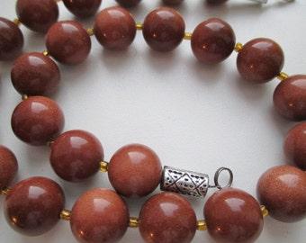 "Vintage Gold Sitara Gemstone Round 16.0 mm Huge Beaded Necklace Long 19.0"""
