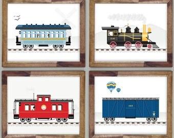 Four Train Prints 8 x 10 Art for Boys Room
