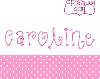 "Caroline, Embroidery Font, Girly, Swirly, Swirl, 1"", 2"", 3"", Instant Download BX Format"