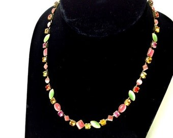 Vibrant Beautiful MULTI COLOR Rhinestone Necklace Pink Chartreuse Red Gold Rainbow Sparkle