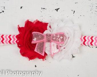 Valentines Baby Headband, Baby Headbands, Valentines Headband,Valentines Hairbow, Baby Headband ,Newborn headband,Shabby chic headband