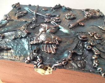 Decorative box, handmade polymer art collage steampunk inspired jewelry box, one of a kind creation from Felicianation