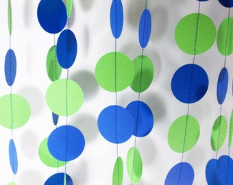 Party Paper Circle Garland Green & Blue Decoration Party Decor 12'