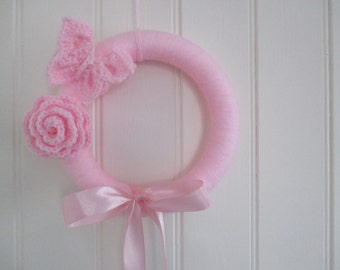 Birth announcement pink wreath with crochet butterfly and rose to decorate baby's room it's a girl customisable in colour christmas wreath