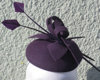 New winter season  grape felt small fascinator hat .