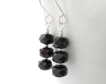 Black Glass Bead Drop Earrings, Czech Fire Polished Glass Beaded Drop Earrings, Black and Silver Czech Glass Jewelry