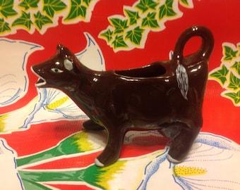 Vintage brown cow ceramic creamer