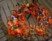 Orange Pumpkin shaped wreath black green gold OOAKHandmade Wreath