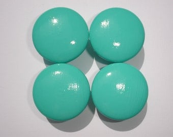 Set of 4 Hand Painted Turquoise Dresser Drawer Knobs