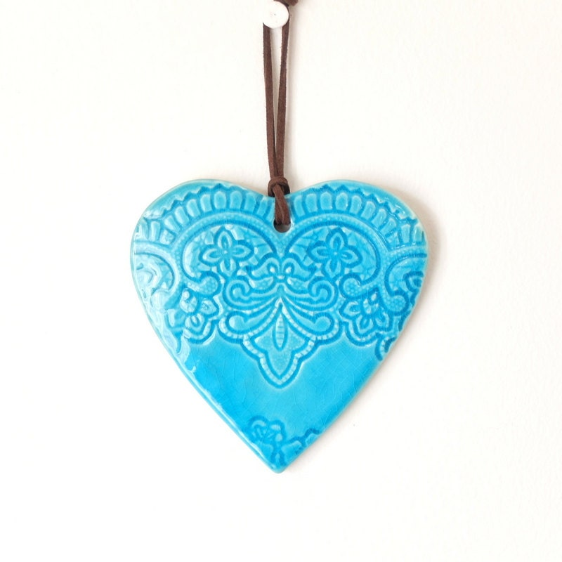 Heart shape turquoise color wall d cor wall hanging by light4you - Heart wall decoration ...