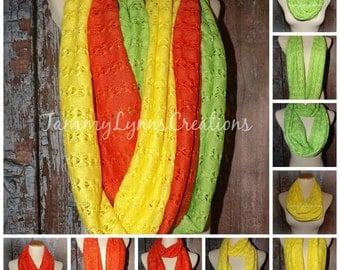 LADIES Apple Green, Lemon Yellow, and Tangerine Orange Crochet Hacci Sweater Knit Infinity Scarf Easter Photos Women's Accessories
