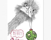 Australian Emu Christmas Greeting Card with Envelope