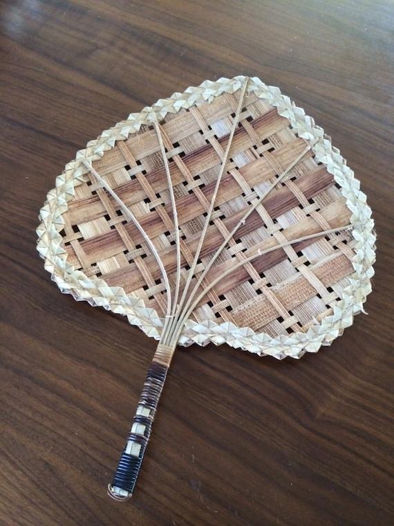 Vintage Rattan Fan Hand Woven Wicker Fan Mid Century Wall