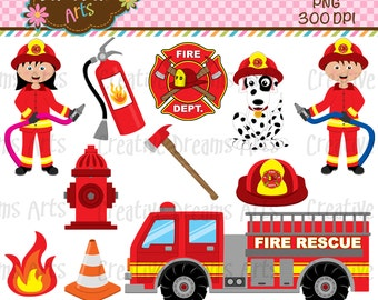 40% Off! Fire Fighters Digital Clip Art Instant Download