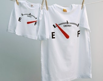 Empty / Full Funny T Shirt Twinset Matching Daddy & Son or Daughter in organic cotton