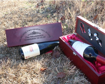 Personalized Rosewood Finish Single Wine Box with Tools,  wedding gift,  wine box,  anniversary gifts,