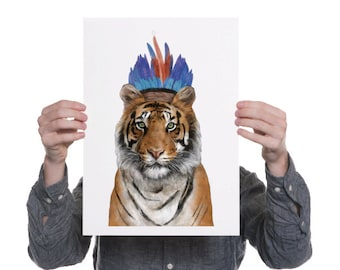 Artemis (Tiger in Headdress) A3 Digital Print