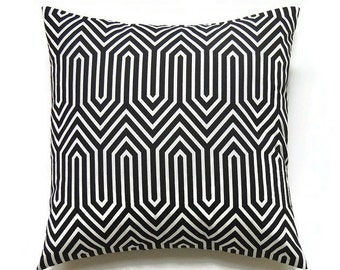 Black Pillow Cover, 16x16 Pillow Cover, Decorative Pillows, Modern Accent Pillow Covers, Geometric Designer Cushion Cover, Trail Black