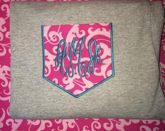 Kids Personalized Monogrammed Pocket Short Sleeve Tee T-Shirt