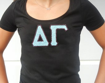 Delta Gamma Sorority Letter Bling T-Shirt