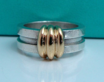 Vintage Tiffany & Co 750 Yellow Gold 925 Sterling Silver Atlas Band Ring Sz.6.25