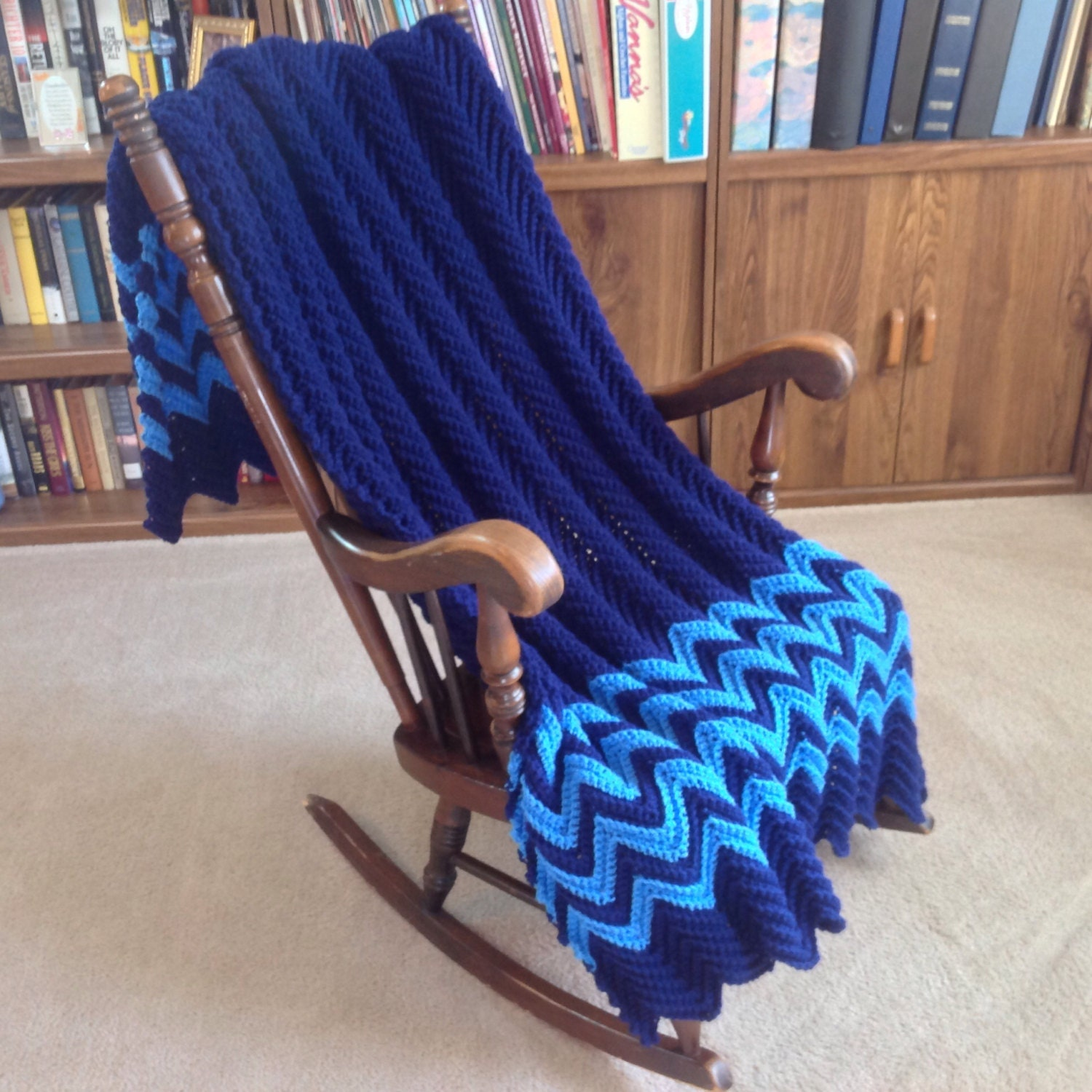 Soft Navy Delft Blue Afghan Throw Blanket Hand Crocheted For