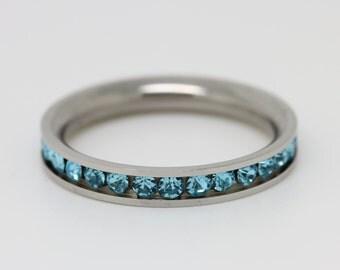 Blue aquamarine full eternity ring - stacking ring - wedding band - engagement ring in white gold or titanium