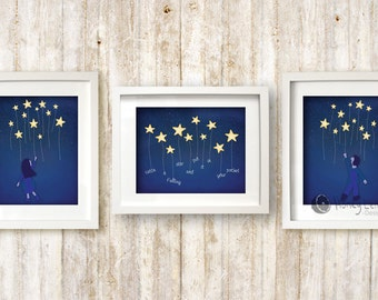 Stars Nursery Art Print - Catch a Falling Star and Put it in your Pocket - Set of 3 Prints - 5x7 inches