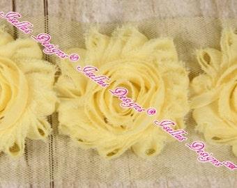 "6 Piece Pale Yellow 2.5"" Shabby Flowers"