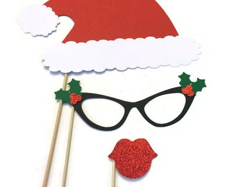 Christmas Photo Booth Props- 3 Piece Set- Holiday Photo Booth with Glitter - Photo Booth