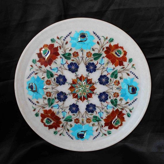 Decorative Marble Plate Taj Mahal Inlaid PietraDura Home Decor