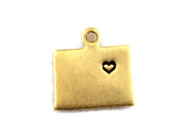 2x Brass Colorado State Charms w/ Hearts - M073/H-CO