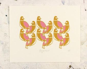 Pigeons 8'' x 10'' Screen print