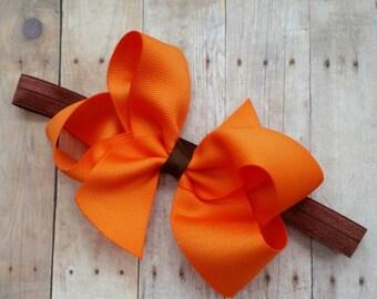 Baby thanksgiving headband, Orange and brown baby headband, newborn thanksgiving headband, Thanksgiving baby bow, newborn