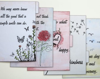 A5 size Filofax 'Quote' Dividers - handmade and laminated