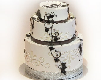 3D SVG 3 Tier wedding cake favor box DIGITAL downlaod