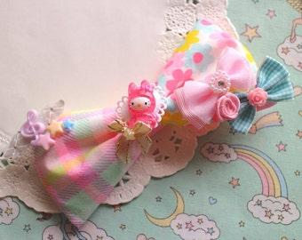 Kawaii Cute Little girl Lolita Girly Fairy kei Deco Bow Crip Hair accessory