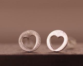 Fine silver heart earring post, everyday stud earring. HEART Cutout Stud Earrings
