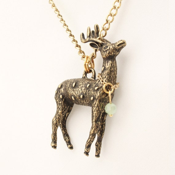 Bambi necklace antique gold / / handmade in Quebec