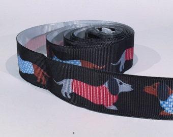 "5 yards of 7/8 inch ""Dogs"" grosgrain ribbon"