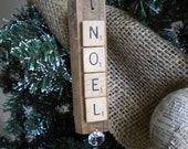 "Noel Word Ornament / Rustic ""Noel"" Ornament / Rustic Christmas Ornament / Rustic Tree / Rustic Christmas Tree Ornament / Natural Christmas"