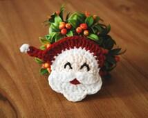 Crochet Santa Clause,Crochet Santa Claus Face, Crochet Christmas Ornament, Handmade Christmas Applique, Santa Applique -PDF Crochet Pattern