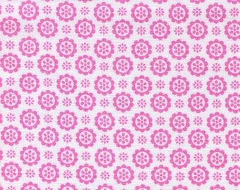 FLOWER SUGAR Fabric by LECIEN / Pink Medallions on White Cotton Fabric