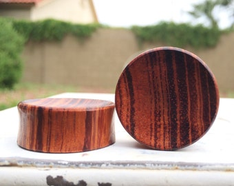 """Big Concave Red Tiger Wood Plugs 9/16"""" 5/8"""" 3/4"""" 15/16"""" One Inch (26mm) 1 1/8"""" (28mm) 1 3/16"""" (30mm)"""