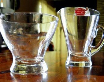 Mid Century Randsfjord (Norway) Handblown Creamer & Sugar Set--Clear Glass--Original Paper Label--Pristine--Simple, Stunning Scandi Design