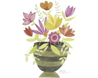 Watercolor flower vase print