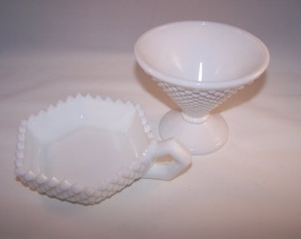 Vintage Westmoreland Candy Dishes Candle Holder Small Vase Milk Glass